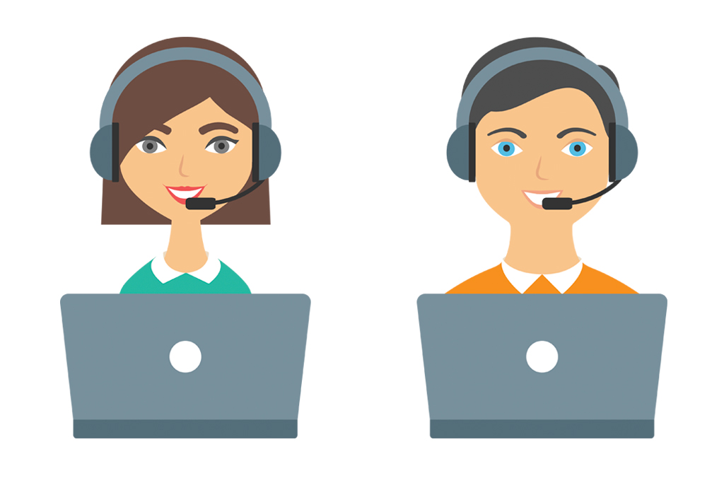 Icons of two support people with computers and headsets