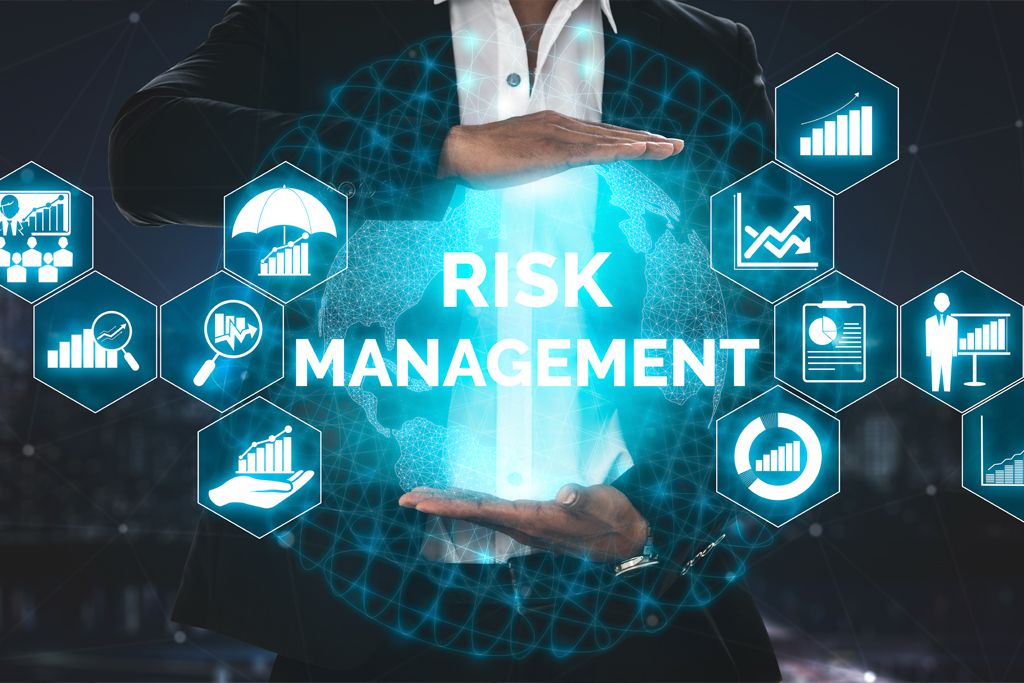 Person holding an orb with the words risk management in the center